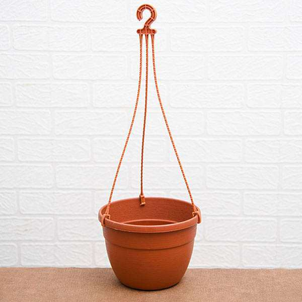7.1 inch (18 cm) Corsica No. 18 Hanging Round Plastic Pot (Terracotta Color) (set of 6) - Nurserylive