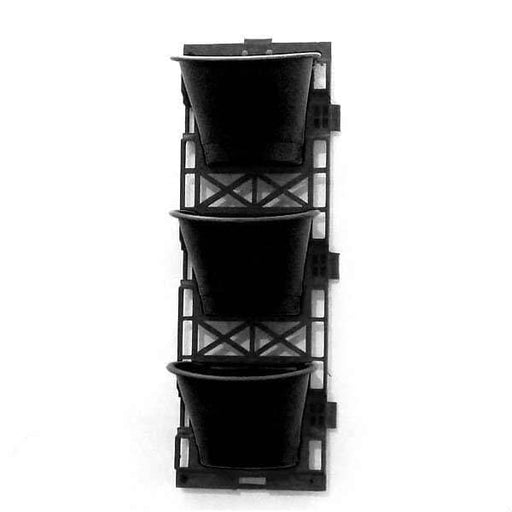 7.1 inch (18 cm) Vertical Garden D Shape Plastic Pots With Frame (Black) (set of 3) - Nurserylive