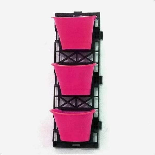 7.1 inch (18 cm) Vertical Garden D Shape Plastic Pots With Frame (Dark Pink) (set of 3) - Nurserylive
