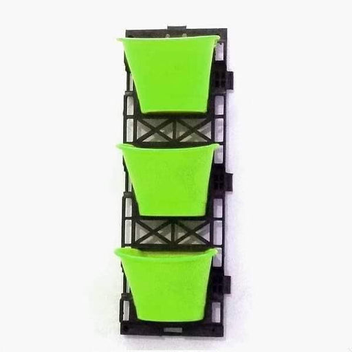 7.1 inch (18 cm) Vertical Garden D Shape Plastic Pots With Frame (Green) (set of 3) - Nurserylive