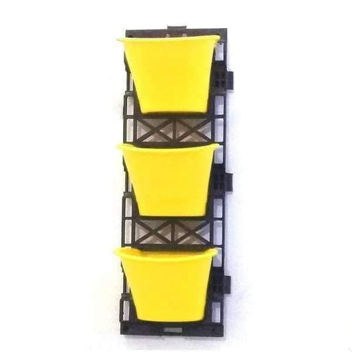 7.1 inch (18 cm) Vertical Garden D Shape Plastic Pots With Frame (Lime Yellow) (set of 3) - Nurserylive