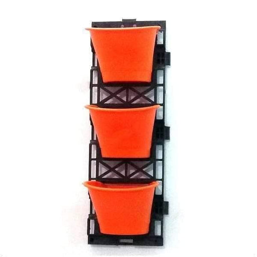 7.1 inch (18 cm) Vertical Garden D Shape Plastic Pots With Frame (Orange) (set of 3) - Nurserylive