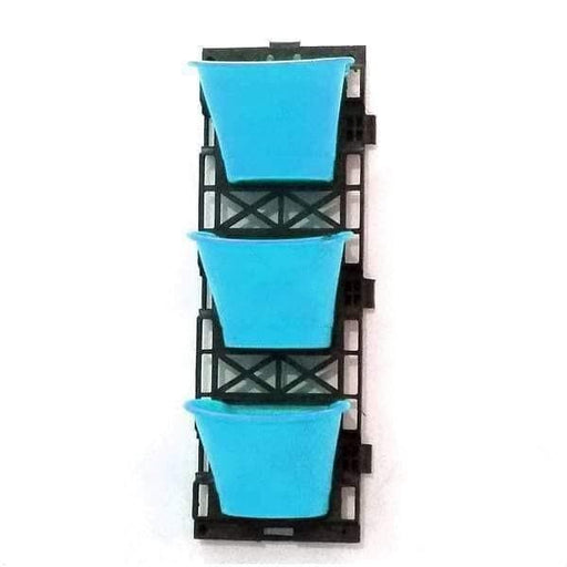 7.1 inch (18 cm) Vertical Garden D Shape Plastic Pots With Frame (Sky Blue) (set of 3) - Nurserylive