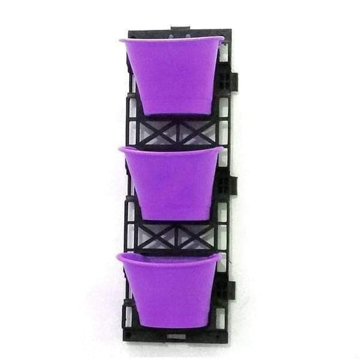 7.1 inch (18 cm) Vertical Garden D Shape Plastic Pots With Frame (Violet) (set of 3) - Nurserylive