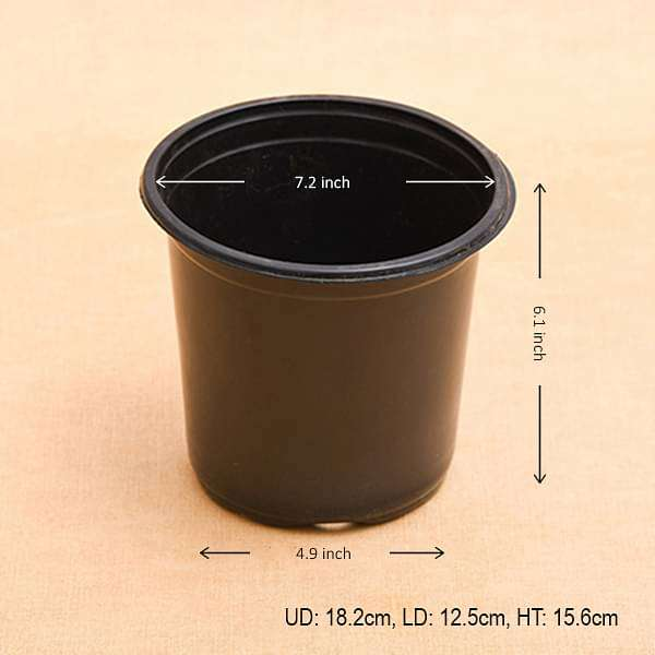 7.2 inch (18 cm) Round Thermoform Pot (Black) (set of 20) - Nurserylive