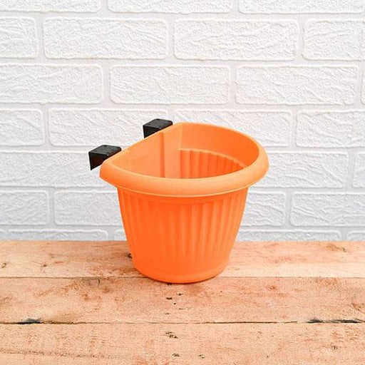 7.9 inch (20 cm) Bello Railing D Shape plastic Planter (Orange) (set of 6) - Nurserylive