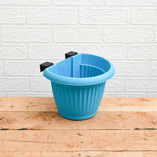 7.9 inch (20 cm) Bello Railing D Shape plastic Planter (Sky Blue) (set of 6) - Nurserylive