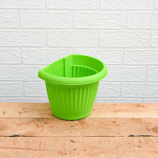7.9 inch (20 cm) Bello Wall Mounted D Shape plastic Planter (Green) (set of 6) - Nurserylive