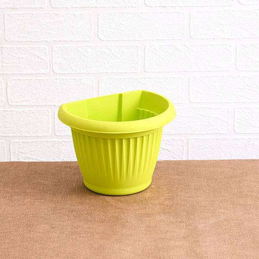 7.9 inch (20 cm) Bello Wall Mounted D Shape plastic Planter (Lime Yellow) (set of 6) - Nurserylive