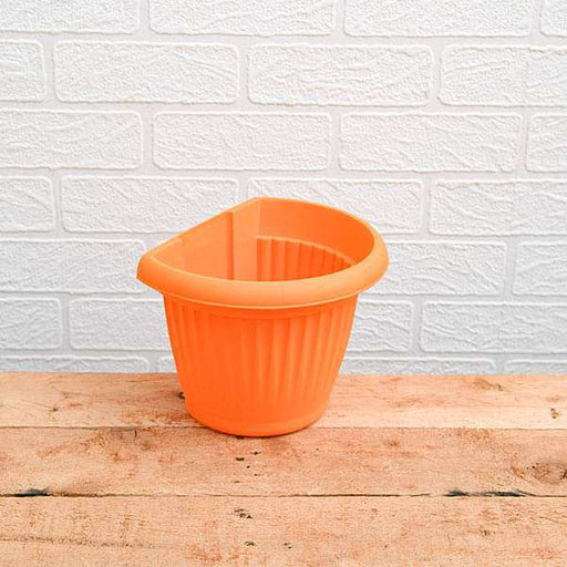 7.9 inch (20 cm) Bello Wall Mounted D Shape plastic Planter (Orange) (set of 6) - Nurserylive