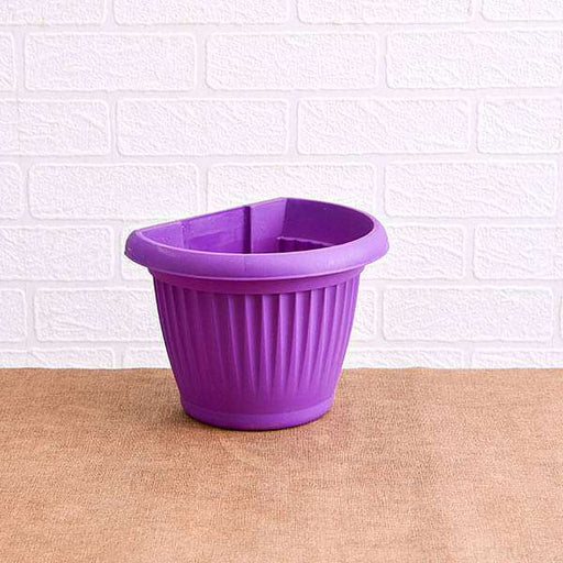 7.9 inch (20 cm) Bello Wall Mounted D Shape plastic Planter (Violet) (set of 6) - Nurserylive