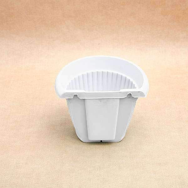 7.9 inch (20 cm) Bello Wall Mounted D Shape Plastic Planter (White) (set of 6) - Nurserylive