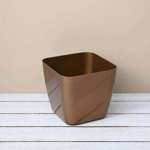 7.9 inch (20 cm) Siena 20 Square Plastic Planter (Golden Color) (set of 3) - Nurserylive
