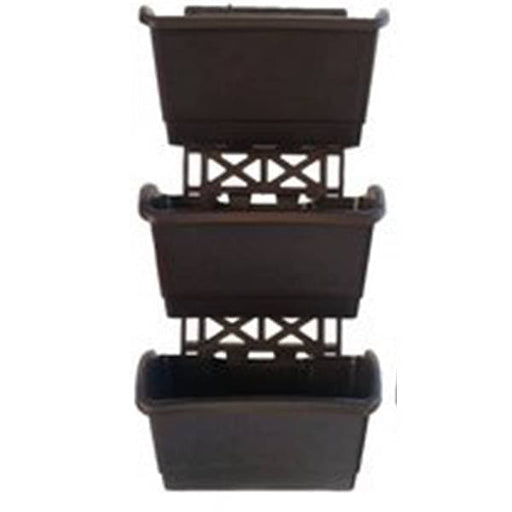 7.9 inch (20 cm) Vertical Garden Rectangle Plastic Pots With Frame (Black) (set of 3) - Nurserylive
