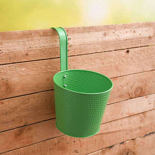 7 inch (18 cm) Dot Embossed Railing Round Metal Planter (Green) (set of 3) - Nurserylive