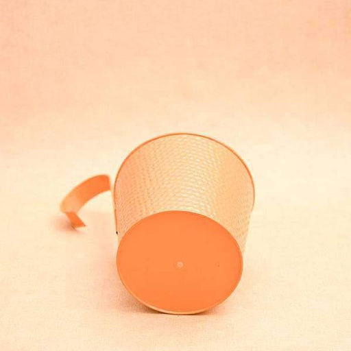 7 inch (18 cm) Dot Embossed Railing Round Metal Planter (Orange) (set of 3) - Nurserylive