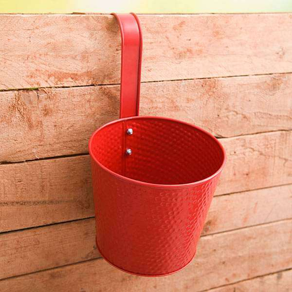 7 inch (18 cm) Dot Embossed Railing Round Metal Planter (Red) (set of 3) - Nurserylive