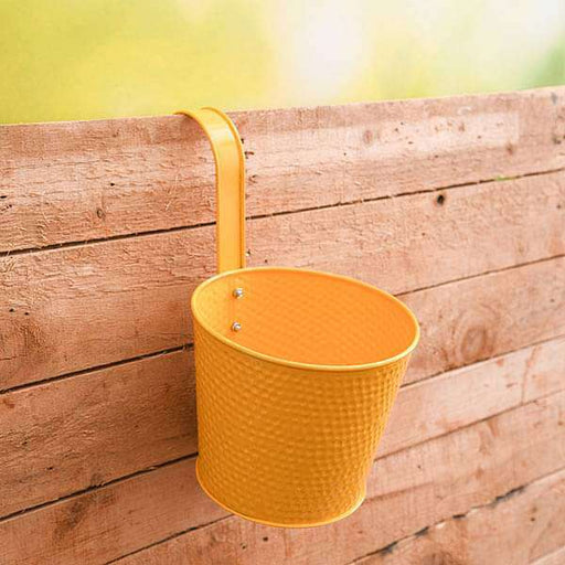7 inch (18 cm) Dot Embossed Railing Round Metal Planter (Yellow) (set of 3) - Nurserylive