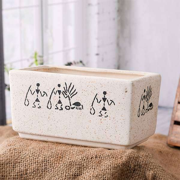 8.4 inch (21 cm) Warli Painting Marble Finish Rectangle Ceramic Pot (White) (set of 2) - Nurserylive