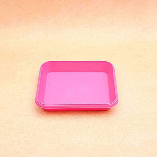 8.6 inch (22 cm) Square Plastic Plate for 10 inch (25 cm) Bello Square Pot (Dark Pink) (set of 3) - Nurserylive