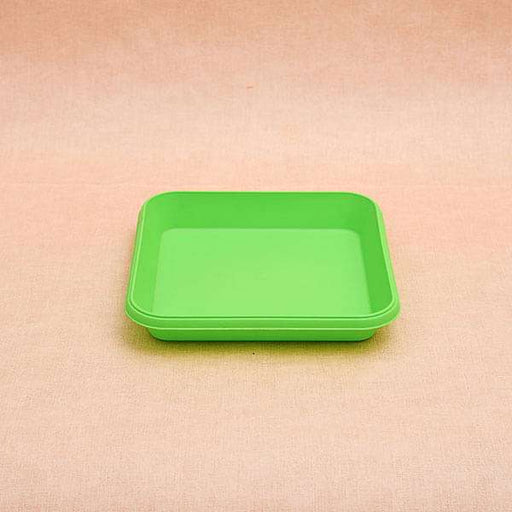 8.6 inch (22 cm) Square Plastic Plate for 10 inch (25 cm) Bello Square Pot (Green) (set of 3) - Nurserylive
