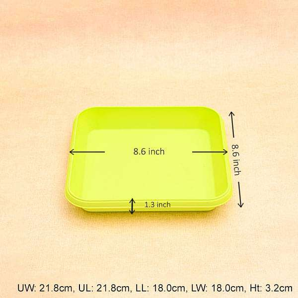 8.6 inch (22 cm) Square Plastic Plate for 10 inch (25 cm) Bello Square Pot (Lime Yellow) (set of 3) - Nurserylive