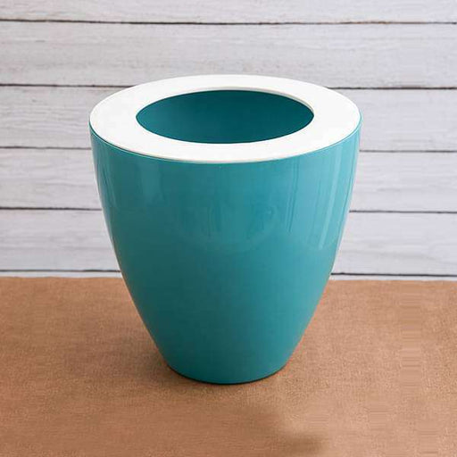8 inch (20 cm) Convex Round Plastic Planter (Sea Green) - Nurserylive