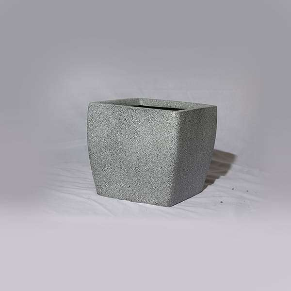 8 inch (20 cm) OTH-9 Stone Finish Square Fiberglass Planter (Grey) - Nurserylive