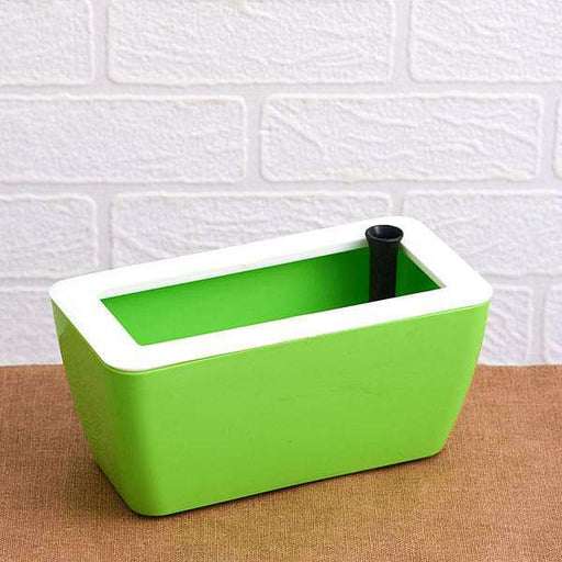 8 inch (20 cm) Recta Self Watering Rectangle Plastic Planter (Green) - Nurserylive