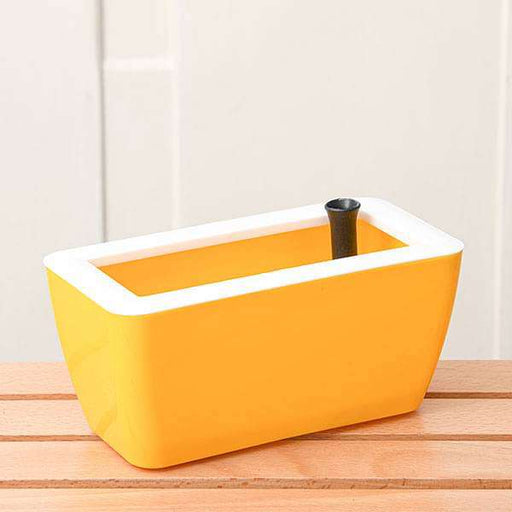 8 inch (20 cm) Recta Self Watering Rectangle Plastic Planter (Yellow) - Nurserylive