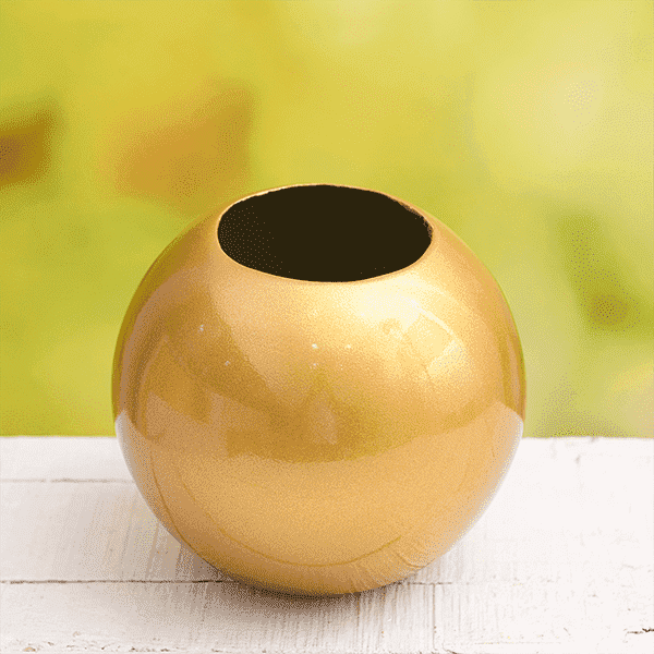 8 inch (20 cm) SML-002 Round Fiberglass Planter (Golden Color) - Nurserylive