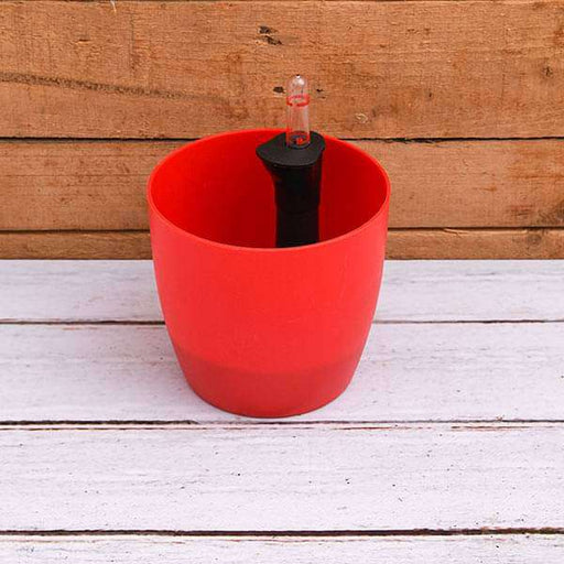 9.1 inch (23 cm) Ronda No. 2320 Self Watering Round Plastic Planter (Red) - Nurserylive