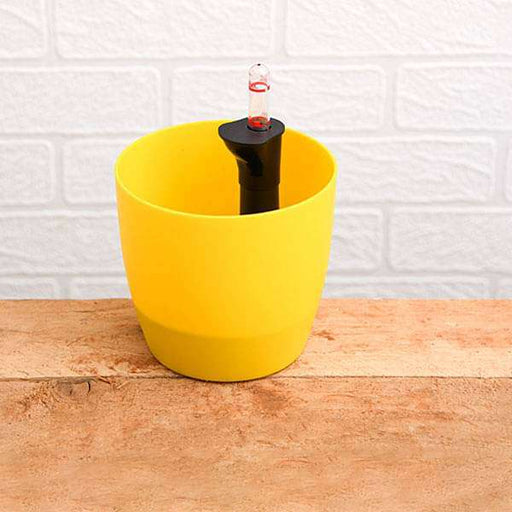 9.1 inch (23 cm) Ronda No. 2320 Self Watering Round Plastic Planter (Yellow) - Nurserylive