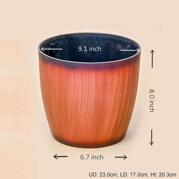 9.1 inch (23 cm) Ronda No. 2320 Wooden Finish Round Plastic Planter (Brown) (set of 3) - Nurserylive