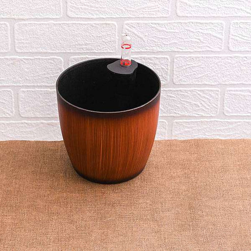 9.1 inch (23 cm) Ronda No. 2320 Wooden Finish Self Watering Round Plastic Planter (Brown) - Nurserylive