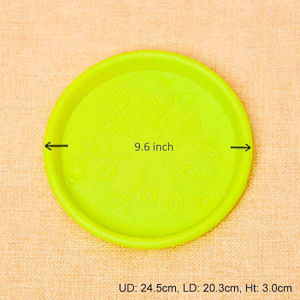 9.6 inch (24 cm) Round Plastic Plate for 10 inch (25 cm) Grower Pots  (Lime Yellow) (set of 3) - Nurserylive