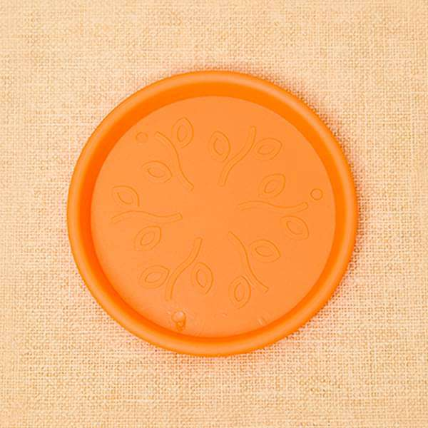 9.6 inch (24 cm) Round Plastic Plate for 10 inch (25 cm) Grower Pots (Orange) (set of 3) - Nurserylive