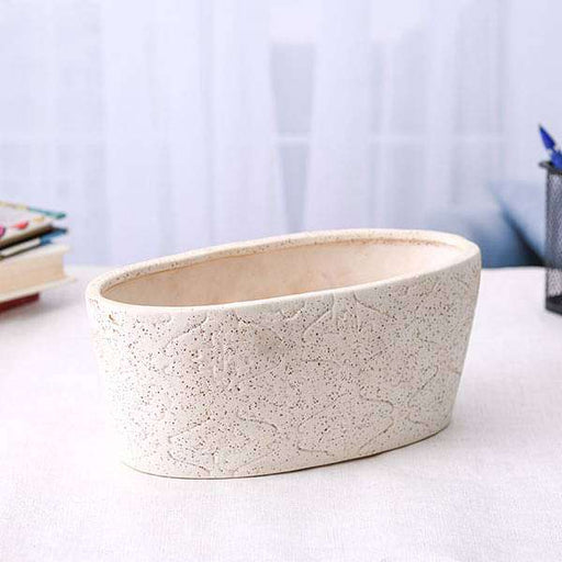 9.8 inch (25 cm) Embossed Marble Finish Oval Ceramic Pot (White) (set of 2) - Nurserylive