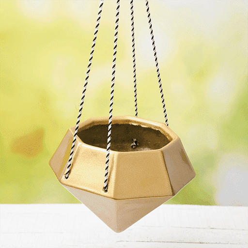 9.8 inch (25 cm) SML-015 Diamond Hanging Fiberglass Planter (Golden Color) - Nurserylive
