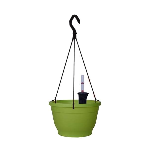9.8 inch (25 cm) Tuka No. 25 Self Watering Hanging Round Plastic Planter (Green) (set of 3) - Nurserylive