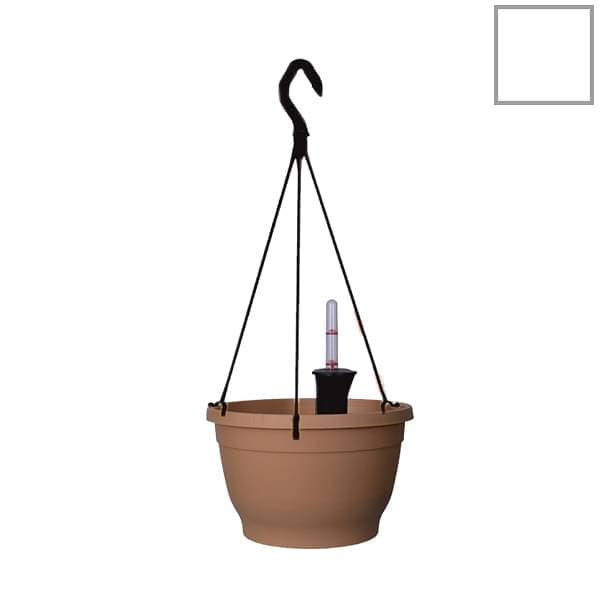 9.8 inch (25 cm) Tuka No. 25 Self Watering Hanging Round Plastic Planter (White) (set of 3) - Nurserylive