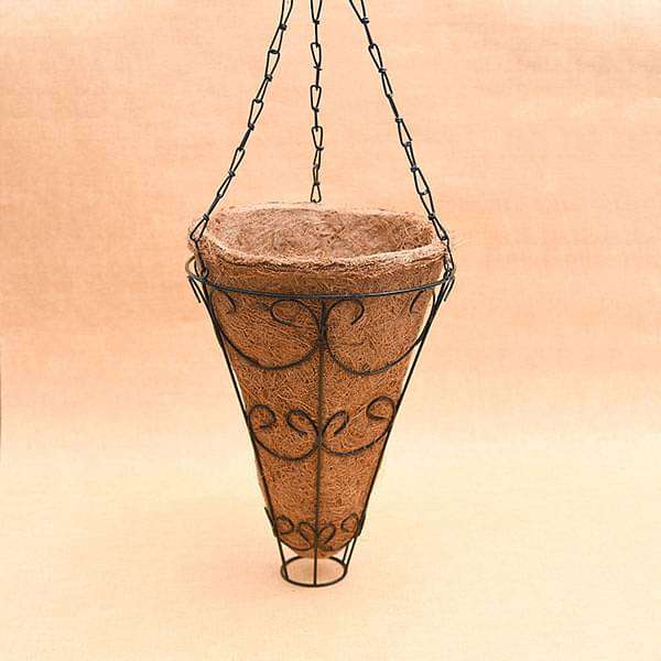 9 inch (23 cm) Conical Coir Basket with Hanger - Nurserylive
