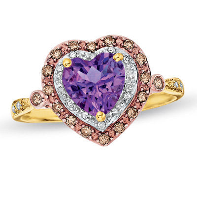 Heart-Shaped Amethyst Frame Ring in 14K Gold with Enhanced Champagne and White Diamonds