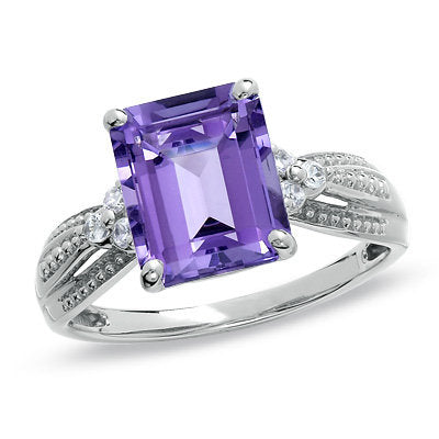 Amethyst and Lab-Created White Sapphire Ring in 10K White Gold