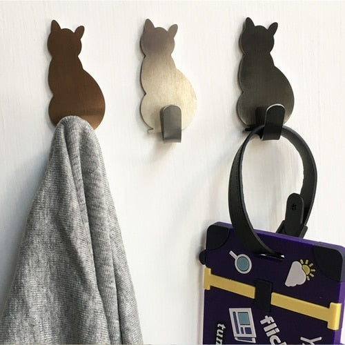 Strong Adhesive Stainless Steel Cat Wall Sticker Hanger