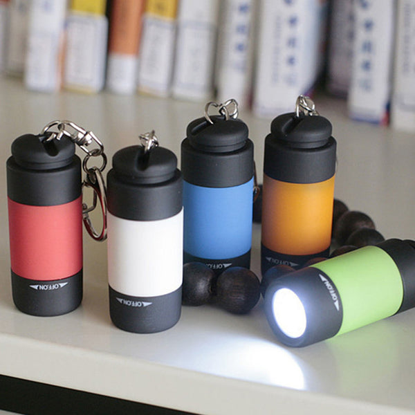 Mini LED Rechargeable Flashlight Key Chain - Waterproof