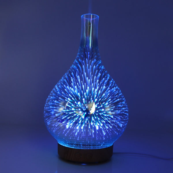 3D Fireworks Glass Vase Shape Air Humidifier with LED Night Light
