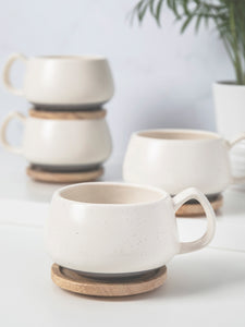 Set Of Four Cream Mugs and Wooden Coasters