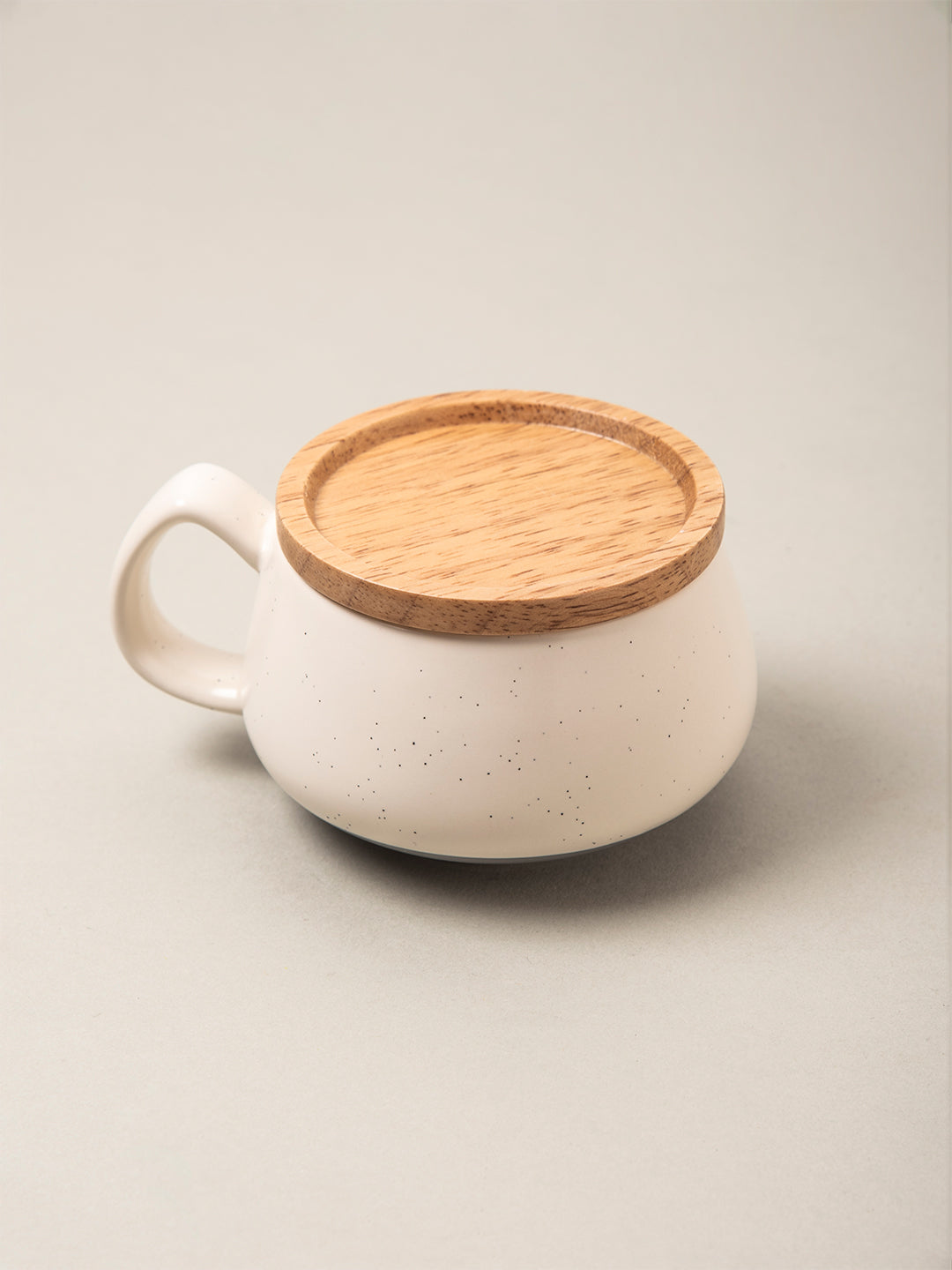 Cream Mug and Wooden Coaster Set