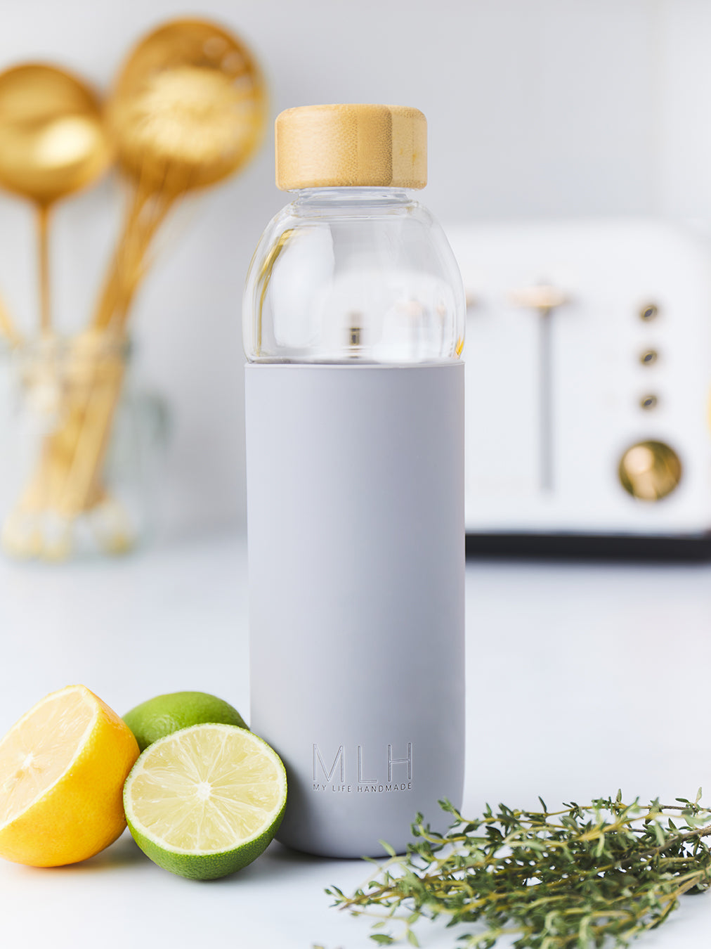 Glass Water Bottle Flask with Bamboo Lid